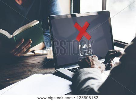 Crisscross Icon Failed Message Concept