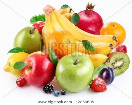 Handful of fruit and berries on a white background