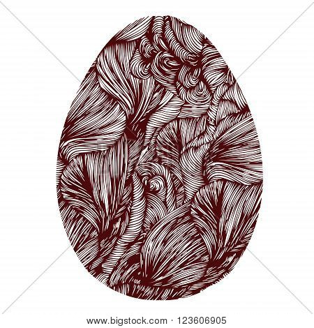 Hand Drawn Ornamental Easter Eggs With Wave Pattern. Cute Doodle Style Easter Egg. Vector Egg. Easte