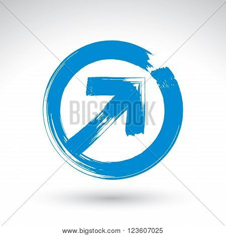 Hand-painted route button isolated on white background simple arrow icon created with real hand drawn ink brush scanned and vectorized.