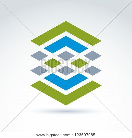 Abstract geometric ornamental figure lines diamonds and rhombs. Vector colorful complex symbol.