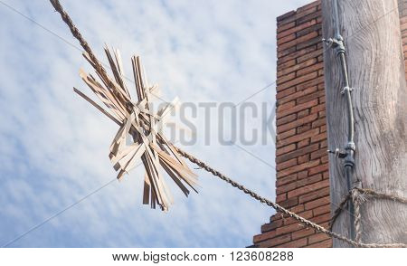 Sky and old brick wall stock photo