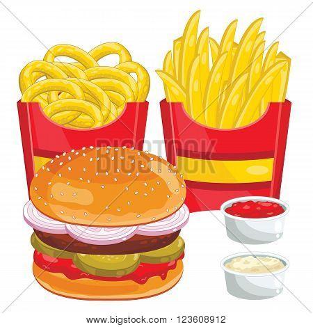 Fast food menu set. Hamburger, onion rings, french fries abd ketchup. Vector illustration.