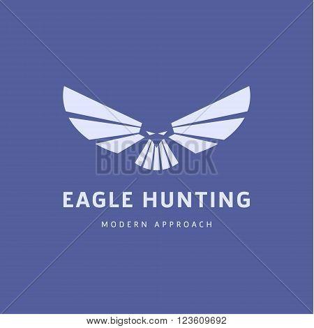 Eagle flew logo Design Trends in Modern, minimalistic Flat Wingspan art