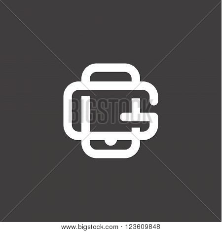 Modern linear icon tech gadget with a built-in letter G sees logo illustrations vector flat art