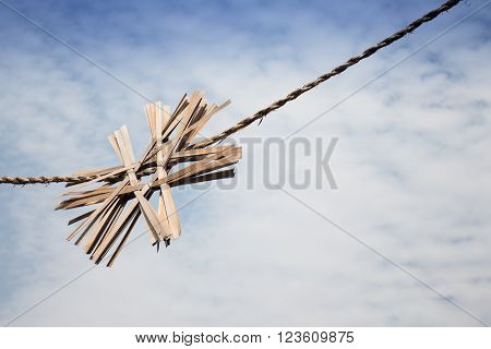 Sky and old gate rope stock photo