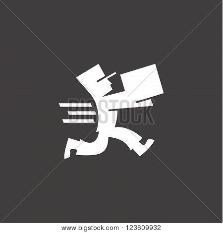 Delivery man with the premise of a hurry to deliver the goods, black and white logo in the style of flat illustrations art