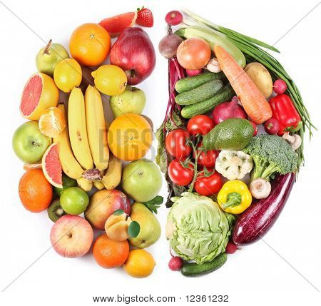 Fruits and vegetables in the form of two semi-circles on a white background