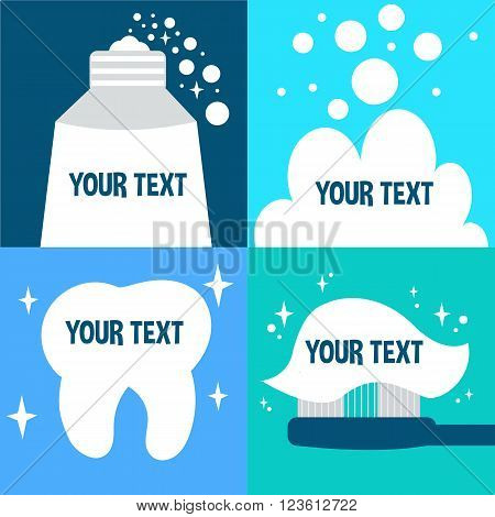 Teeth hygiene banner design. Vector banner template with text place.