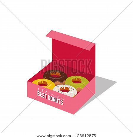 Vector isometric box with delicious donuts. Take away donuts. Donuts box isolated on white background.