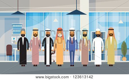 Arab Business People Office Interior Muslim Team Men Traditional Arabic Clothes Businesspeople Flat Vector Illustration