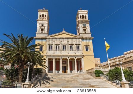 Amazing View of Orthodox Cathedral of Saint Nicholas, town of Ermopoli, Syros, Cyclades Islands, Greece