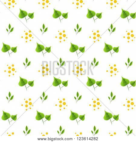 Spring green leaves seamless pattern. Floral tender fine summer vector pattern on white background. For fabric textile prints and apparel.