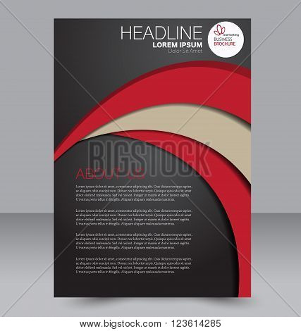 Abstract flyer design background. Brochure template. Can be used for magazine cover business mockup education presentation report. Black and red color.