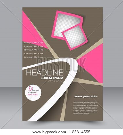 Abstract flyer design background. Brochure template. Can be used for magazine cover business mockup education presentation report. Pink and brown color.