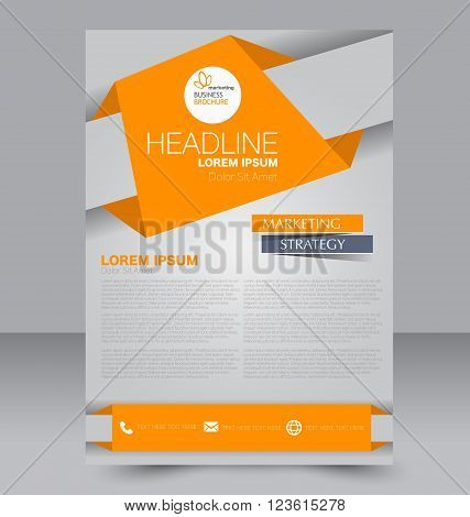 Abstract flyer design background. Brochure template. Can be used for magazine cover business mockup education presentation report. Orange color.
