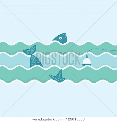 Vectorillustration of fish and float and starfish. Fishing trip