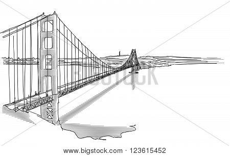 Hand Drawn Golden Gate Bridge