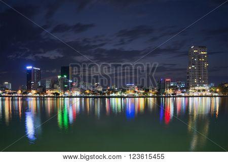 DA NANG, VIETNAM - JANUARY 06, 2016: City Quay in the late evening. The landmark of Da Nang, Vietnam