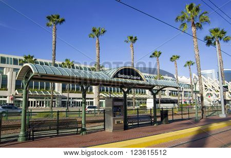 SAN DIEGO California USA - March 15 2016: Gas Lamp station and Convention center in San Diego downtown USA.