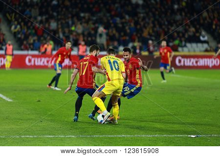 Romanian Football Player Nicolae Stanciu In Action Against Spain