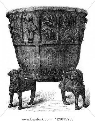 Baptismal font of copper, cast iron (1149), vintage engraved illustration. Magasin Pittoresque 1880.