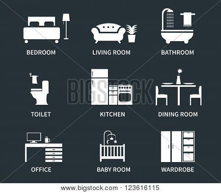 Home interior design icons for bedroom living room bathroom kitchen dining room home office wardrobe baby room. Vector icons set.