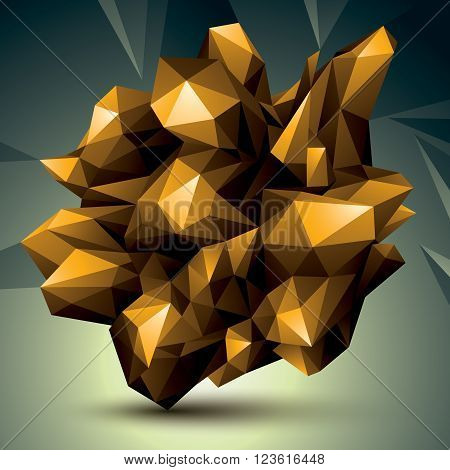 Asymmetric 3D abstract object golden geometric spatial form. Render and modeling.