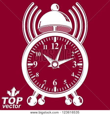Elegant alarm clock vector 3d illustration with podcast sign.