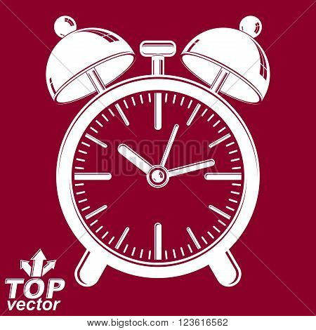 Vector 3d alarm clock with two symmetric bells. Graphic design element. Red retro timer with clang bells