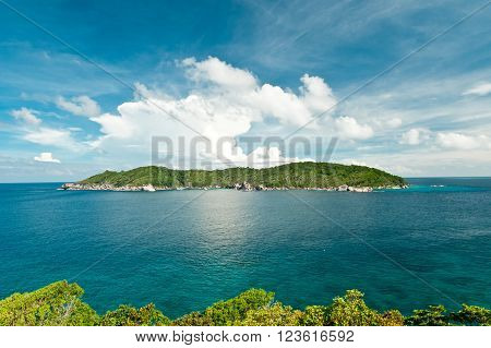 Hight view on Similan Island whit tropical forest, sky, clouds and sea, Phuket, Thailand