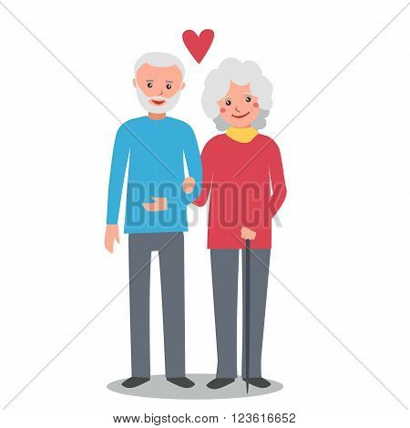Old man and woman stand together arm-in-arm and smiling. Senior couple in love. Elderly man and woman. Vector illustration isolated on white background.