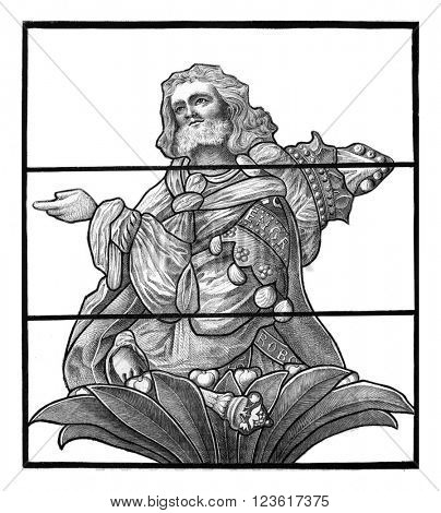 Portrait of Prince Engrand, glass of the sixteenth century, painted on a window in the church Saint Etienne of Beauvais, vintage engraved illustration. Magasin Pittoresque 1880.