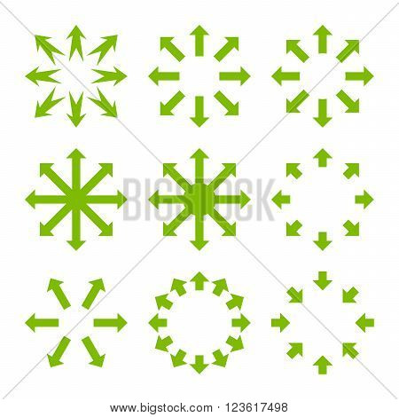 Maximize Arrows vector icon set. Collection style is eco green flat symbols on a white background.