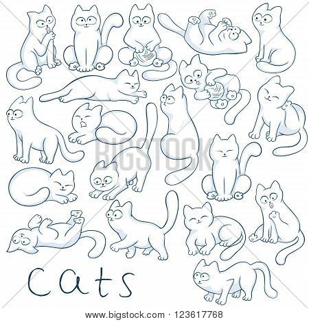 vector hand drawn set of cats in different poses. These fluffy, cute kitties are jumping, sitting, climbing, sleeping, playing, hunting and waiting for you.