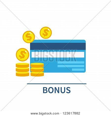 Plastic Cards with Gold Coins. Bonus payment concept. Vector flat illustration.