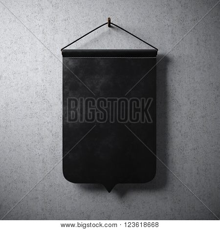 Black pennant hanging on concrete wall. Ready for your business information. High detailed texture material.  Abstract background. 3D rendering