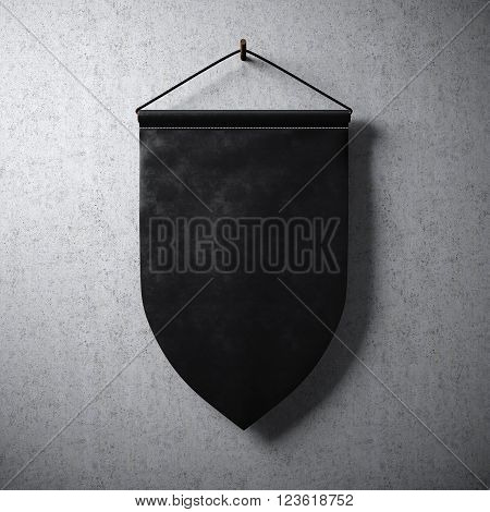 Empty black pennant hanging on concrete wall. Ready for your business information. High detailed texture material.  Abstract background. 3D rendering