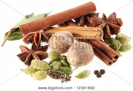 Asian spices on a white background