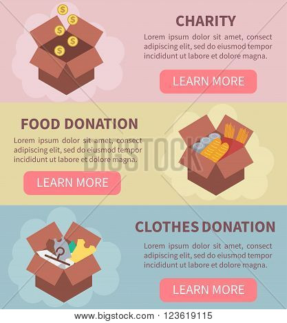 Donation vector concept illustrations. Charity food donation clothes donation. Donation boxes. Concept for web banners websites infographics.
