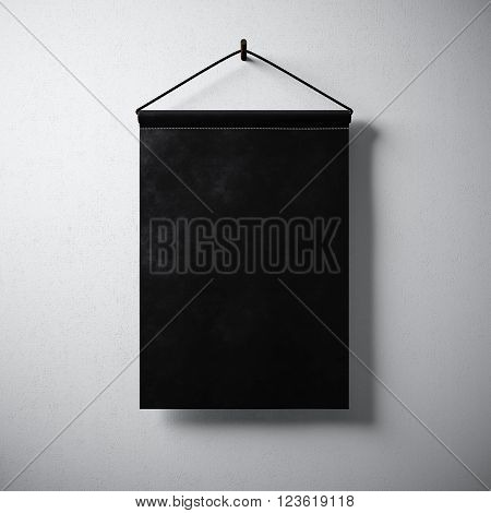 Empty blank black pennant hanging concrete wall. Ready for your business information. High detailed texture material. Soft shadows. Abstract background. 3D rendering