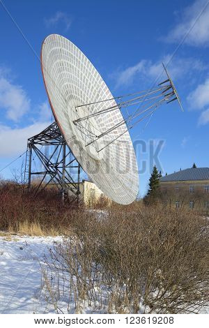 Plate radio telescope at Pulkovo Observatory sunny february afternoon. Saint-Petersburg, Russia