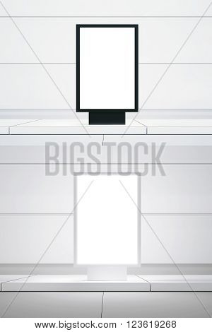 Concept picture double white digital panel. Black empty canvas lightbox city street. Blank white wall background. Empty, ready for your business information. 3D rendering