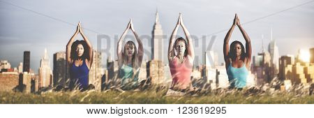 Yoga Spiritual Cityscape Concentration Peaceful Concept