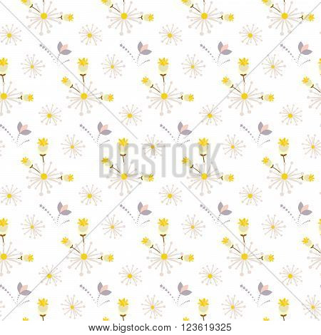 Spring wild flower field yellow and beige seamless pattern. Floral tender fine summer vector pattern on white background. For fabric textile prints and apparel.
