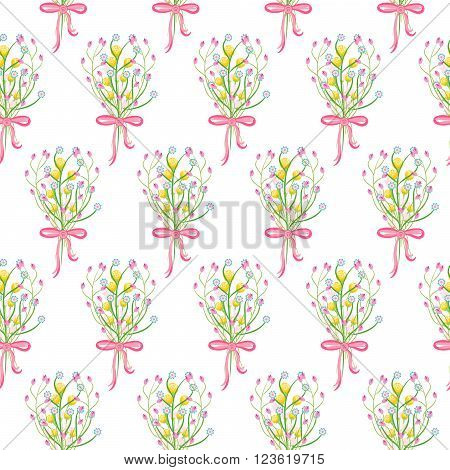 Spring wild flower bouquet with bow seamless pattern. Floral tender fine summer vector pattern on white background. For fabric textile prints and apparel.