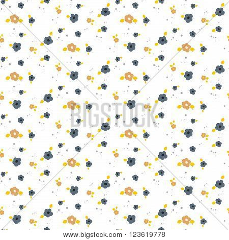 Spring small wild flower field seamless pattern. Floral blue and mustard fine summer vector pattern on white background. For fabric textile prints and apparel.