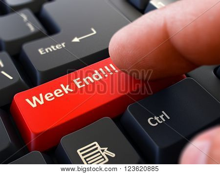 Week End - Written on Red Keyboard Key. Male Hand Presses Button on Black PC Keyboard. Closeup View. Blurred Background. 3D Render.