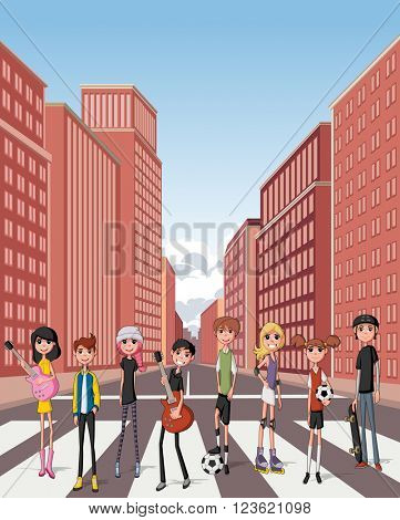 Group of cartoon young people. Teenagers in the street of downtown city with buildings