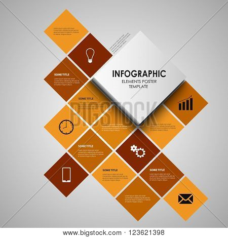 Info graphic with orange squares template vector eps 10